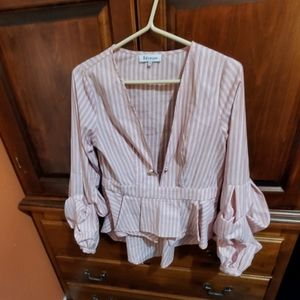 Pinstriped deep vneck puffy sleeved blouse